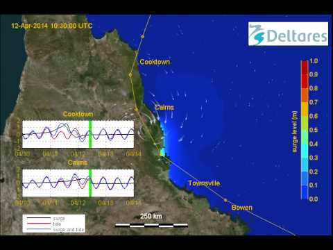 Simulation Cyclone ita forecast jtwc, using Delft3D-FLOW