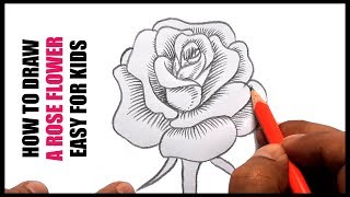 How to draw rose step by step for kids