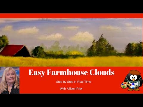 How to Paint Farmhouse CLOUDS with Acrylic Paint  step by step for beginners