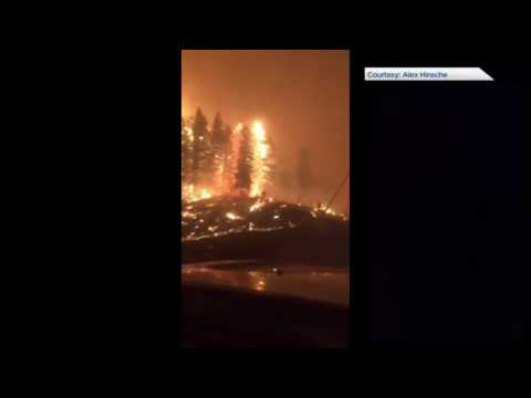 Fuel transporter drives through BC wildfire