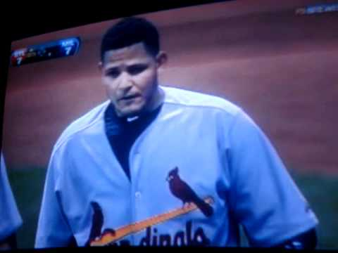 Yadier Molina HarASSing Umpire against Brewers.