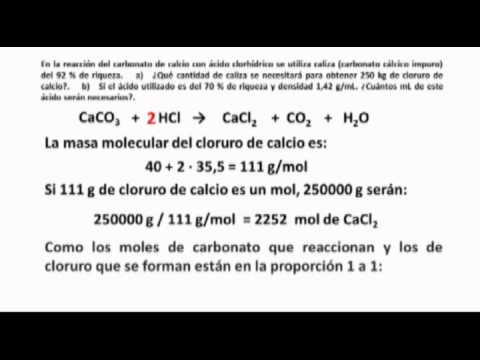 Reacci n qu mica caco3 y hcl youtube for Marmol formula quimica