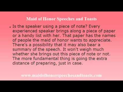 Maid Of Honor Speech And Toast