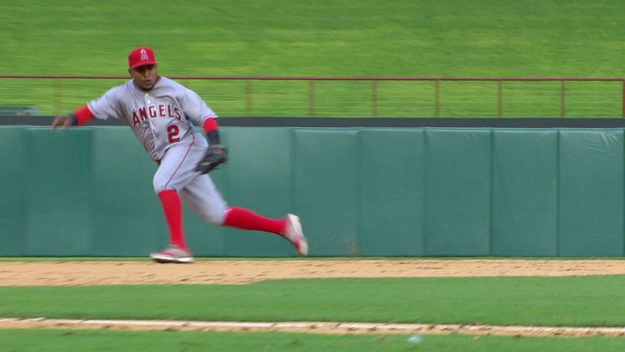 LAA@TEX: Aybar slides, fields hard-hit grounder