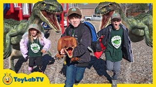 Dinosaur Escape Plan! Giant Life Size Raptors Attack Kids Playground & T-Rex Toy Saves the Day
