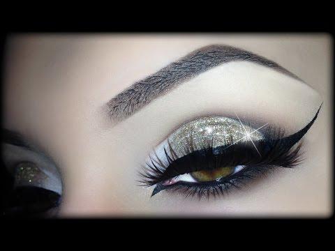 Sexy Arabic Christmas Makeup - Gold Glitter Elegant Cat Eyeliner Tutorial (trucco Natale) 2014