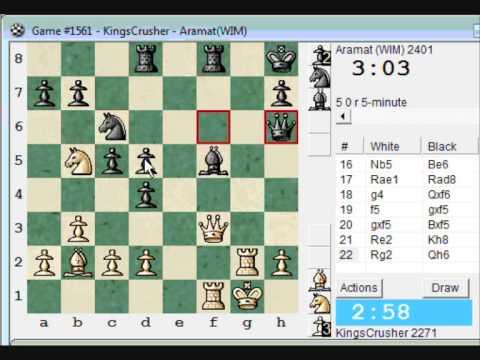 Chessworld.net : Blitz #294 vs. WIM Aramat (2401) - Scandinavian (center counter) defense (B01)