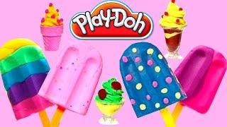 Play Doh Scoops 'n Treats DIY Ice Cream Cones Popsicles Sundaes Waffles Desserts Play Doh Ice Creams
