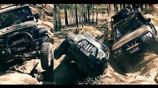 Jeep Wrangler and Nissan Patrol on  Camp Road 4x4 offroading