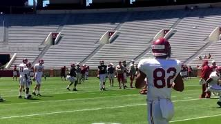 Alabama QBs Jalen Hurts and Tua Tagovailoa working inside Bryant-Denny Stadium