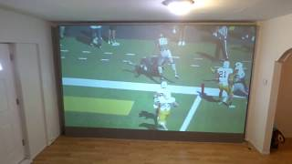 FOOTBALL ON OUR 180 16:9 IMMERSE 4K CINEMA BLACKOUT CLOTH LIGHTS ON!