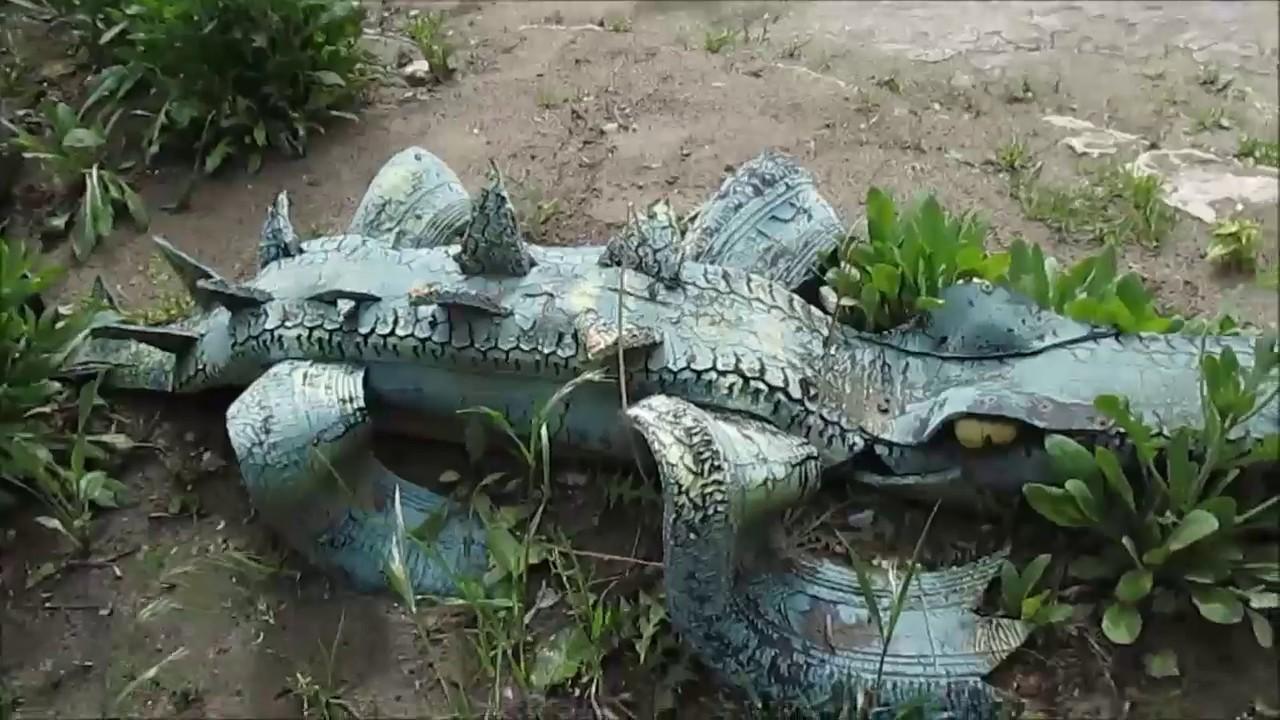 Крокодил из шины как сделать своими руками 66