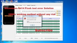 micromax q414 flashing problem Error Solution 100% Working  Flash tool