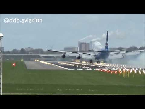 HARD LANDING!!! Silkway horror landing at Schiphol!!