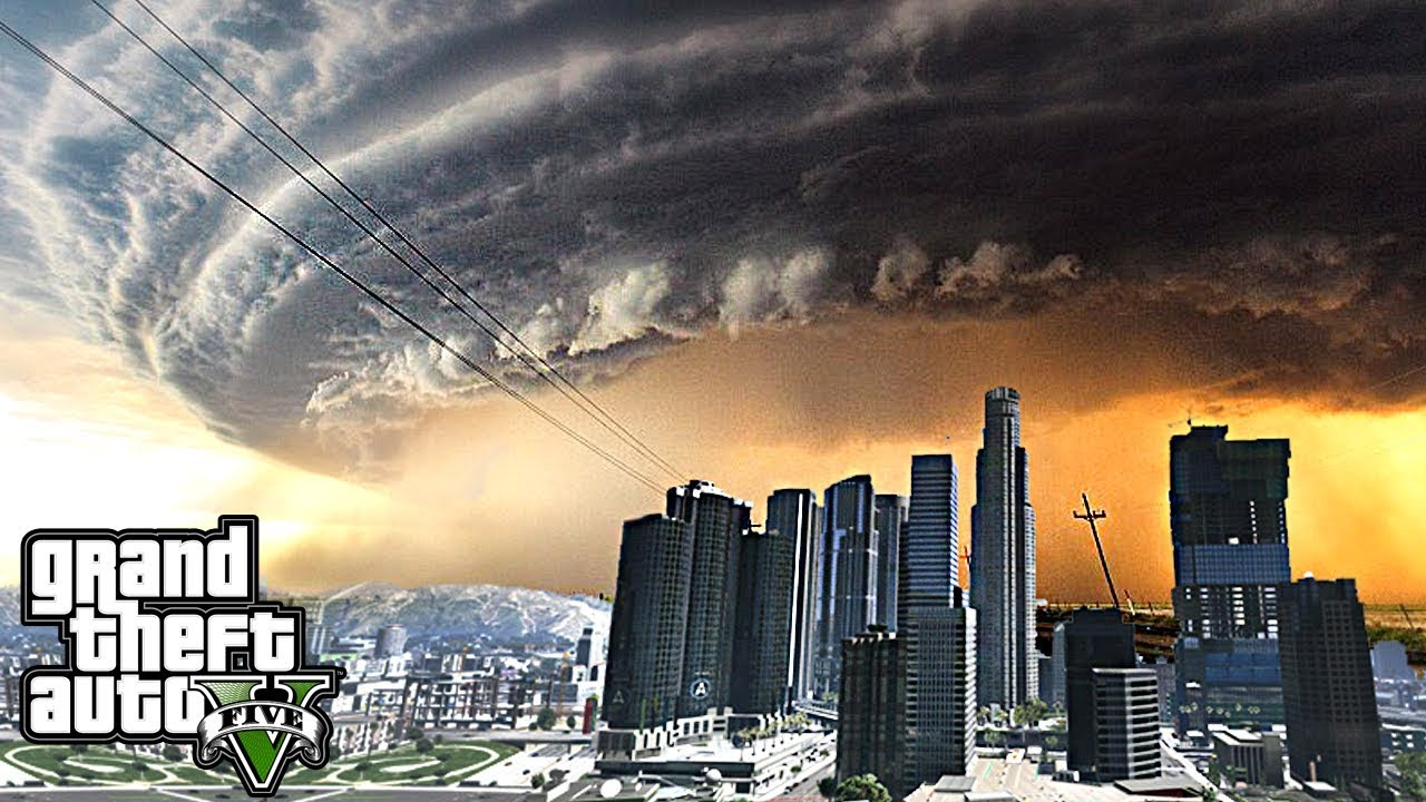 MEGA HURRICANE & TORNADO DESTROY LOS SANTOS - GTA 5 END OF LOS SANTOS FLORIDA