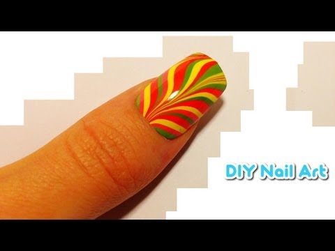 ★ DIY Nail Art ★ Water Marble Tutorial ★ MULTICOLOR RAINBOW STRIPES
