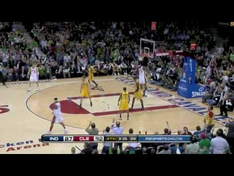 LeBron James reverse alley oop slam from Anderson Varejao assist vs Indiana Pacers