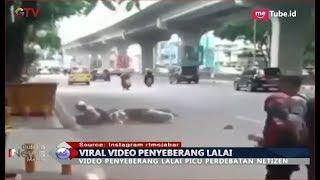 VIRAL! Menyeberang Jalan Tak Gunakan Zebra Cross Akibatkan Pemotor Jatuh - BIM 16/11