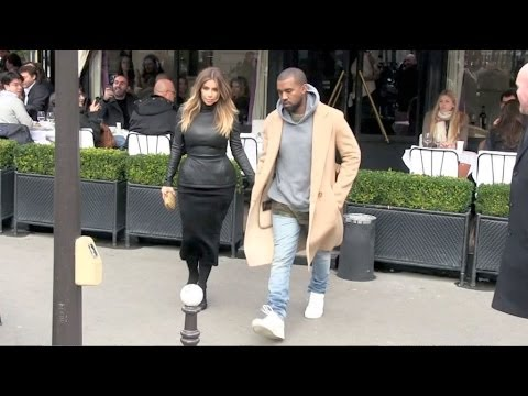 EXCLUSIVE - Kanye West and Kim Kardashian lunch at L avenue in Paris