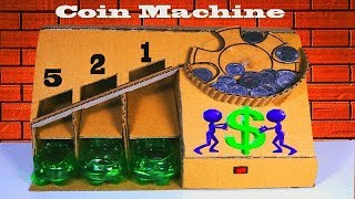 Amazing coin sorting machine from cardboard |  DIY automatic coin sorting machine