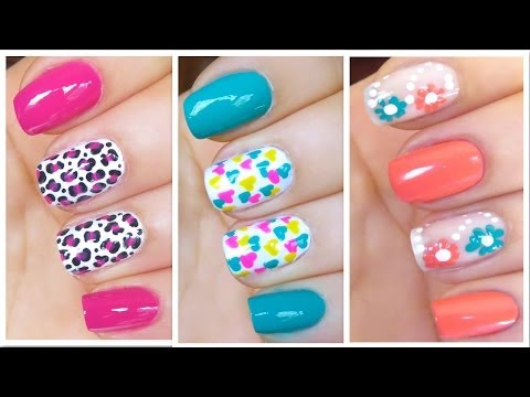 3 Easy And Cute Nail Art Designs (spring Summer 2014) video