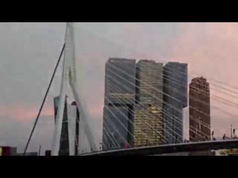 Bizarre skateboard stunt on bridge (gone wrong) in Rotterdam