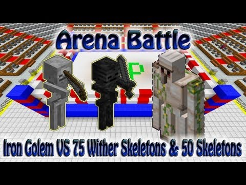 Minecraft Arena Fight Iron Golems VS 75 Wither Skeletons & 50 Skeletons
