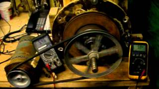 Rpm VS volts and Watts test chamas 11 3phase axial flux pma green energy wind turbine vawt 86