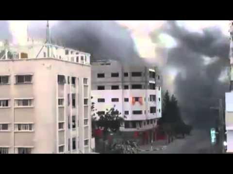 Gaza 2014  Israeli air strike destroys 14 storey Gaza building