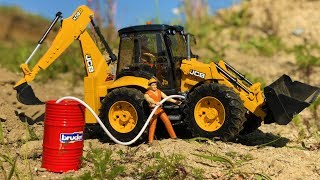 BRUDER tractor excavator needs FUEL! Toy truck action video for kids
