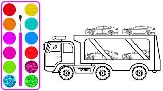 Xe ô tô chở xe con cho bé vẽ   Dạy bé vẽ   Dạy bé tô màu   Car carrier Truck  Drawing and Coloring