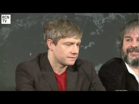 Martin Freeman, Ian McKellen & Peter Jackson Interview - Funny Faces & Christopher Lee