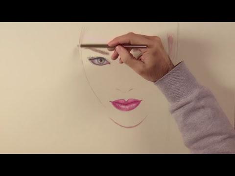 Cómo dibujar un retrato minimalista de Rihanna con lápices de colores - Ojos, labios