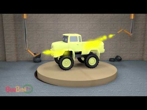 3D Learn Colors Monster Trucks For Children   Street Vehicles Cars Trucks   Video For Kids BinBin Tv