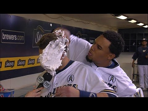 Milwaukee Brewer Jonathan Lucroy takes a pie to the face after winning on FOX Sports Wisconsin