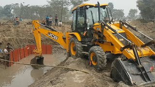 JCB Backhoe Machine Working For Bridge Construction - Bridge Foundation Construction in Water
