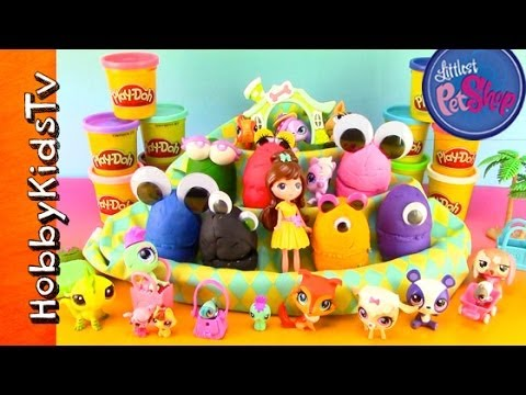 PLAY-DOH Surprise Toy Egg Littlest Pet Shop! [LPS] [Blythe] [Zoe] [Google Eyes] klip izle