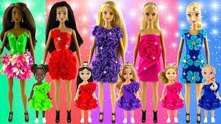 How to make glitter toy play doh dresses | Aurora Elsa Rapunzel | New design