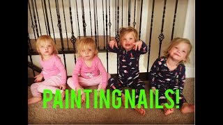 QUADRUPLETS GET TOES PAINTED FOR THE FIRST TIME
