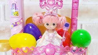 Baby doll Fireworks Princess Castle Dress up and Surprise eggs toys play