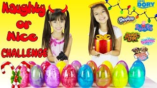 Giant Surprise Eggs Edition of Naughty or Nice Christmas Challenge - Do we get a coal or a toy?