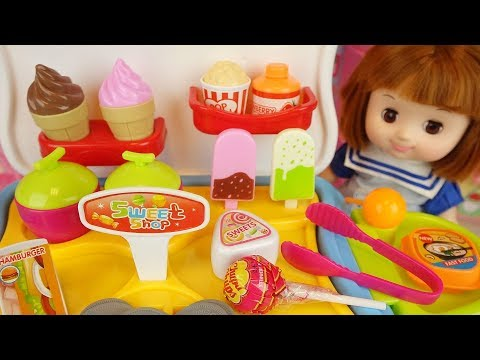 Baby doll and Ice Cream Candy sweet cooking shop play
