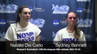 Postgame interview with SSU's Natalie Del Carlo and Sydney Bennett