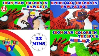 SuperHeroes Coloring Book Iron Man and Spiderman color in Avengers Paw Patrol Coloring Book ToyfunTV