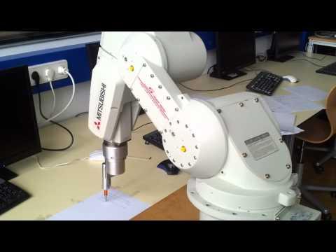Awesome Mitsubishi industrial robot writes