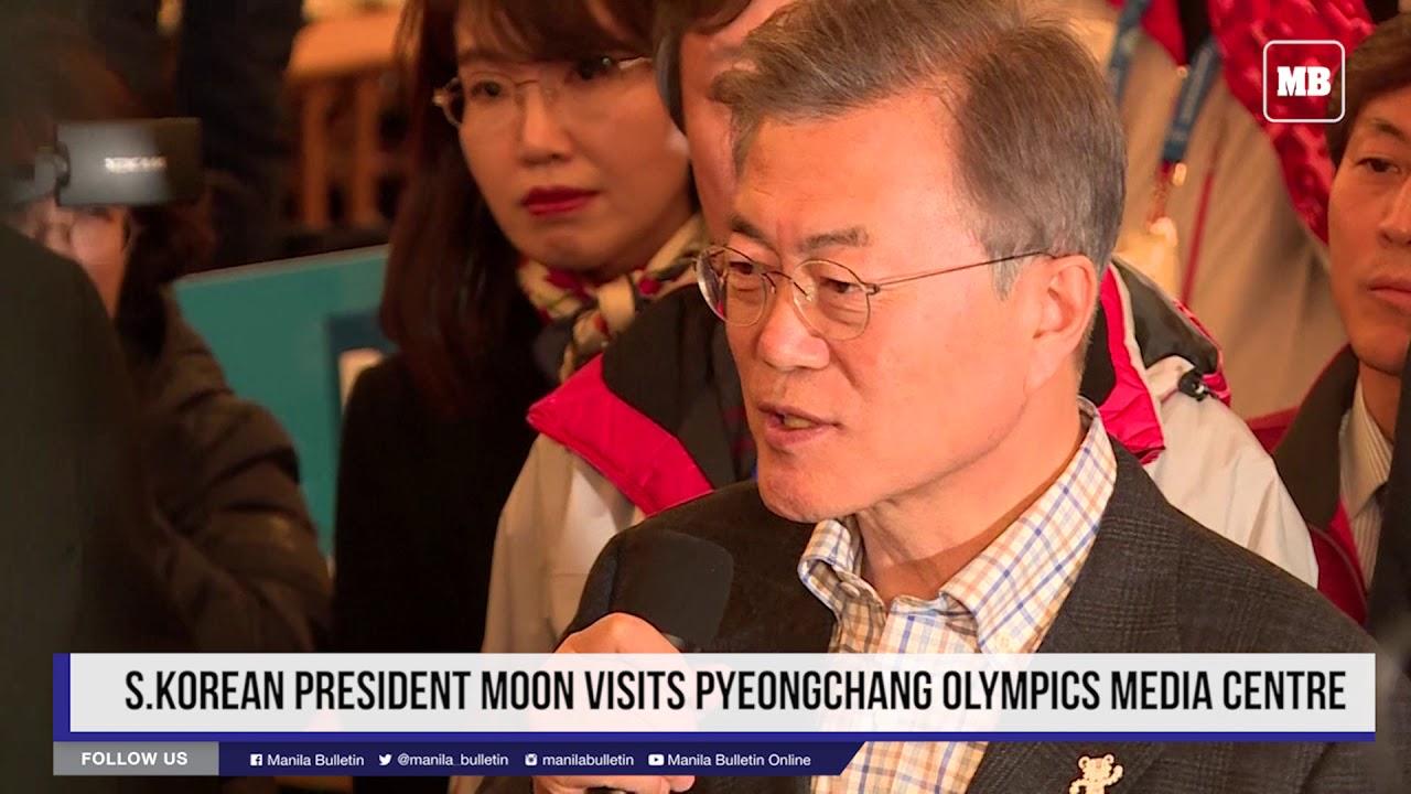 S Korean President Moon visits Pyeongchang Olympics media centre