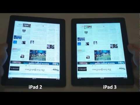 Apple's new iPad 3 vs. iPad 2: Retina vs. Standard Screen Comparison (Close Up)