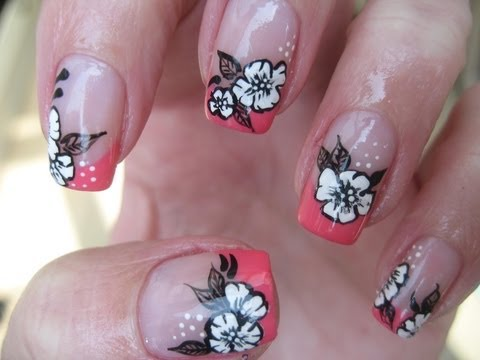 Nail art: Coral french with sweet white flowers
