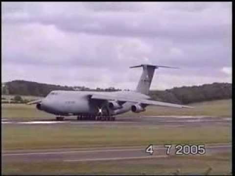 Extremely short take off Lockheed C-5 Galaxy America's biggest plane