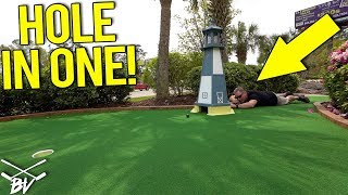 DAD WILL TRY ANYTHING FOR A MINI GOLF HOLE IN ONE!
